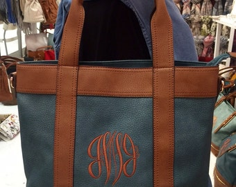 Monogrammed Blue Spruce Bryson Handbag - Personalized vegan leather purses, warm fall colors, monogrammed double handle purses, fall tote