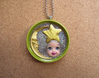 Sale - Celestial Little Kelly -  Upcycled Doll Pendant
