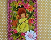 Vintage Playing Card Book Mark / Ornament -  Crochet Mod Pixie Girl in Yellow