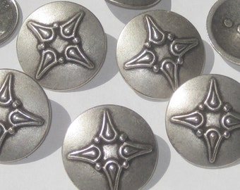 "FANCY set 7 vintage new Antiqued SILVER Metal buttons with shank 28.5mm 1&1/8"" L"