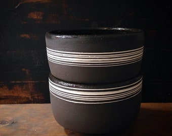 MADE TO ORDER- set of 2 stoneware cereal bowls/ tea bowls in black matte with white stripes by sara paloma . modern tabletop black ceramics