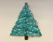 Fused Glass Christmas Tree Ornament (Teal)