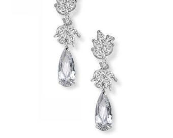 Bridal Teardrop Earrings, Leaf & Water Drop Earrings, Bridal Earrings, Wedding Jewelry, Swarovski Water Drop Earrings, Art Deco Earrings,