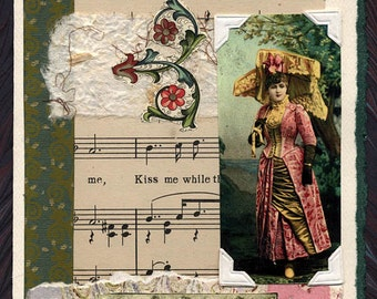 Kiss Me Sheet Music Collage Greeting Card Engagement Anniversary