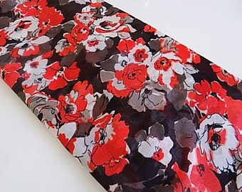 Vintage Sheer Polyester Floral Fabric with Black White Red and Grey