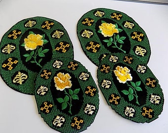 Vintage Yellow and Green Floral Appliques Patches