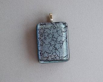 Silver Stars Pendant - Blue Dichroic Glass -  Dichroic Glass Pendant  -  Stars Pendant -Dichroic Glass Jewelry, Fused Glass Pendant