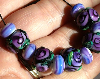 SRA Lampwork Glass Beads by Catalinaglass Purple Roses