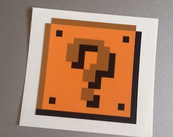 mario question block vinyl sticker