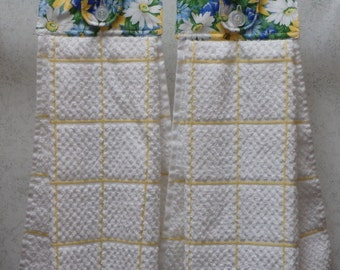 SET of 2 - Hanging Cloth Top Kitchen Hand Towels - White, Blue and Green Floral Print, Larger White and YELLOW Towels