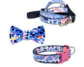 Dog Collar Bow and Leash 3-piece Set Made from Lilly Pulitzer 2016 TIC TAC TILE Fabric on Navy Size: Your Choice
