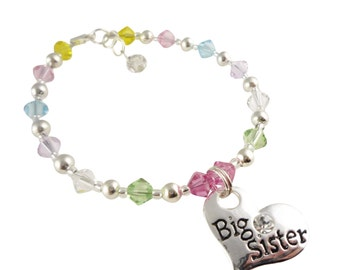 Big Sister Bracelet in customizable Swarovski Colored Crystals, Great Gift! Rose pink, peridot, citrine yellow, aqua