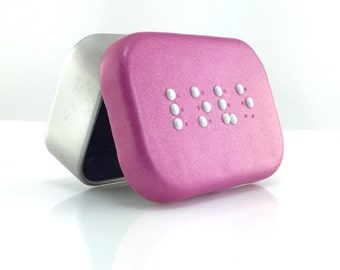 Love Braille Box - Braille Jewelry Box - Handmade Treasure Box - Fuchsia Trinket Box - Ready to Ship #17 - Real, Readable Braille