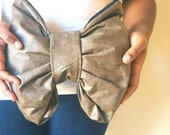 Tan bow clutch purse zippered handmade pouch LARGE size