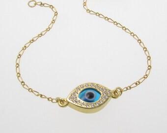 Gold Evil Eye Bracelet As Seen On Kim Kardashian And Kelly Ripa, Gold Filled And Vermeil