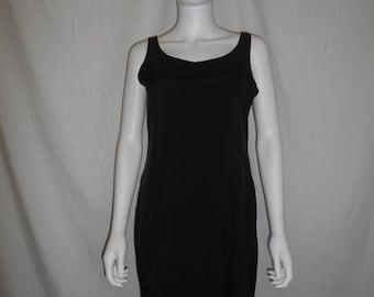 Vintage 90s black dress, silk dress, minimalist dress
