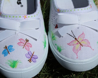 Hand Painted Canvas Shoes, flats, Toddler size 11