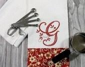 Monogrammed Kitchen Towel, Monogrammed Towel, Kitchen Towel - Brick Red Floral