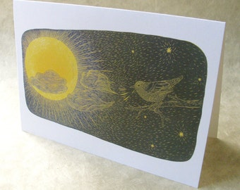 5 x 7 Notecard - A029 CALL TO MORNING // nature card / new beginning / encouragement card / milestone / rebirth / bird / sun / stars / sky