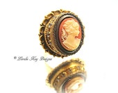Elegant Lady Cameo Ring Woman Vintage Look Victorian Style One-of-a-kind 24K Gold Plated Lorelie Kay Original