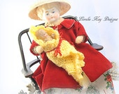 New Mom Needle Felted Doll China Head Vintage Spun Cotton Inspired  Art Doll Decoration