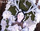 Deer Girl Enchanted Forest Assemblage Art Sculpture Wall Art Plaque Nursey Decor One-of-a-kind Mixed Media Sculpture