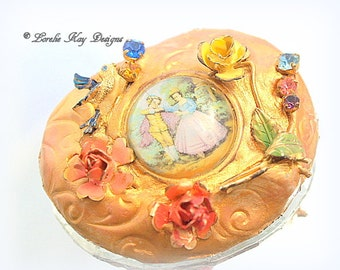 Renaissance Brooch Courting Couple Solder and Clay Flower Romantic Style Pin Broach Lorelie Kay Designs