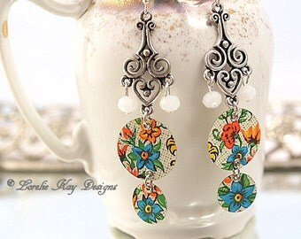 Boho Tin Earrings Upcycled Tin Floral Motif Summer Dangle Lightweight Earrings