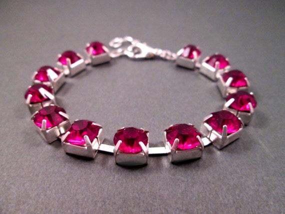 Berry Red Rhinestone Bracelet, Glass Rhinestone and Silver Beaded Bracelet, FREE Shipping U.S.