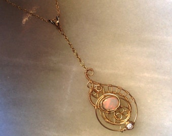 HALF OFF! 14k gold pendant with opal and diamond