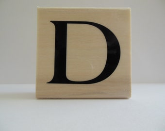 Letter D Rubber Stamp - True Blue Collection - Wood Mounted Rubber Stamp - Alphabet Letter D Stamp