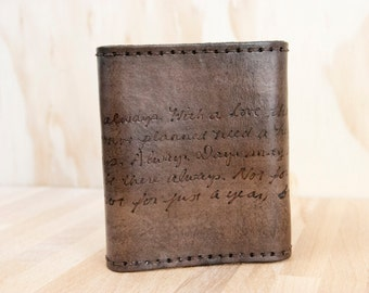Mens Wallet Trifold // Personalized Wallet in the Smokey Pattern with Custom Inscription
