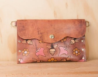 Envelope Clutch - Leather Wristlet, Clutch or Waist Pouch in the Meadow Pattern - Bees and Flowers in Pink, Gold and Anitque Mahogany