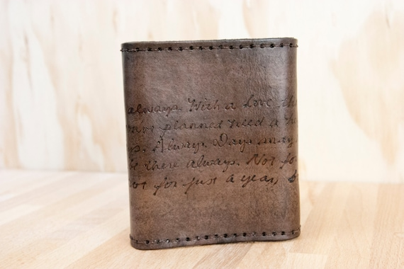 Mens Wallet Trifold - Personalized Wallet in the Smokey Pattern with Custom Inscription - Antique Black
