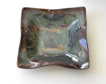 Large Square Decorative Bowl - Purple T Glaze