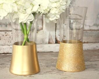 Gold bouquet vases, wedding decor, 6 gold dipped centerpiece vases, gold glitter vase, wedding table decor, gold metallic vase