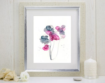 "Indigo and magenta watercolor flowers print: ""Frozen in Time"""