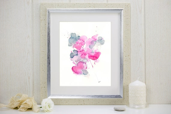"Watercolor flowers art print: ""I Gathered My Love"""