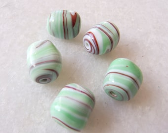 Vintage Beads Japan Coppery Red, Mint & White Swirled Handmade Lampwork Nugget Beads -  Lot of 5