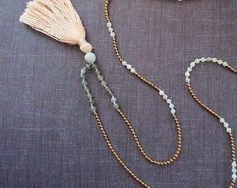 One of a kind Mala style necklace. Brass, mint green amazonite, apatite, tassel. Pink, cream, blue, bead, stone, semi precious, long, trendy