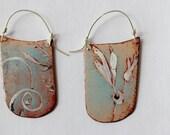 Blade Enamel Earrings - OOAK - Hand painted botanical motif - reversible earrings 2 pairs in one N.2