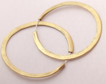 Brass Hoop Earrings - 2 1/2 (2.5) inches wide continuous hoops