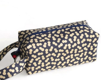Boxy Bag Knitting Project Zippered Pouch - Imported Japanese fabric, blue and tan