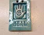 Miniature HEAL Tile of  Hamsa Hand in Turquoise