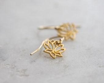 Tiny gold lotus flower earrings - petite dangle earrings in 14k gold fill with vermeil lotus flower charms