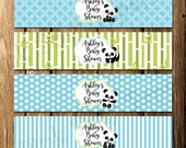 Printable Panda Boy Baby Shower Water Bottle Wrappers