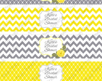 Printable Yellow and Gray Bridal Shower Water Bottle Wrappers