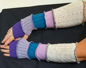 patchwork recycled sweater arm warmers - purple, turquoise, cream