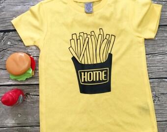 Boys Yellow Home Fry short Sleeve T Shirt modern graphic trendy