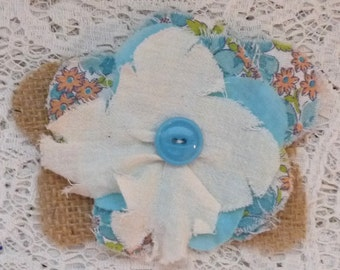 Scrappy fabric flower embellishment, boho chic, rag flower supplies, gift topper, flower applique, cottage flower, gypsy prom, turquoise